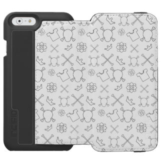 Black and white Skull and Bones pattern Incipio Watson™ iPhone 6 Wallet Case