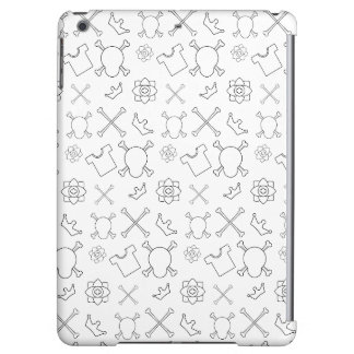 black and white Skull and Bones pattern iPad Air Cover