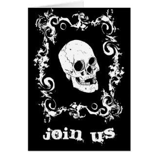 Black and White Skull Halloween Party Invitation