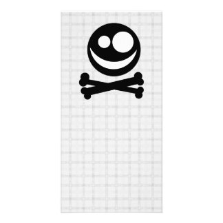 Black and White Skull. On Gray Check. Personalized Photo Card