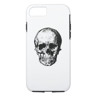 black and white skull phone case
