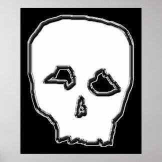 Black and White Skull. Poster