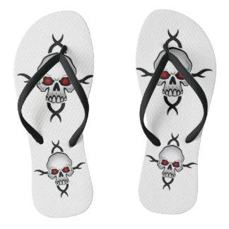 Black and White Skulls Flip Flops
