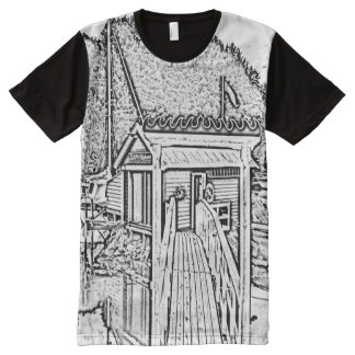 black and white small building All-Over-Print T-Shirt