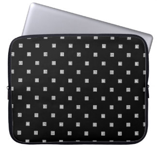 Black and White Small Geometrical Pattern Laptop Sleeve