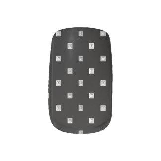 Black and White Small Geometrical Pattern Minx Nail Art