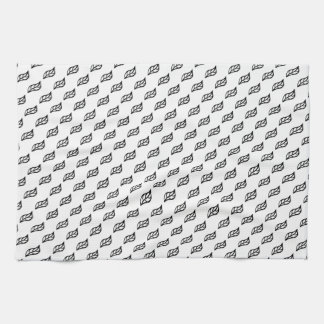 Black and white small leaves towel