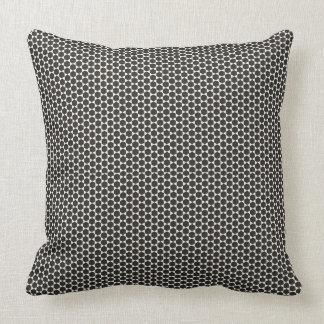 Black and White Small Print Hexagon design Throw Pillow