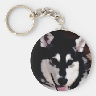 Black and white smiling Alaskan Malamute Basic Round Button Keychain