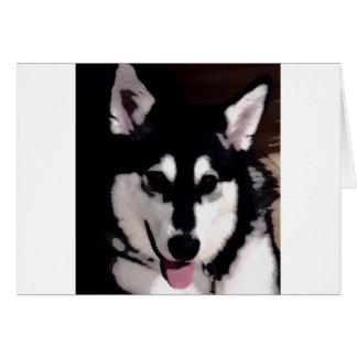 Black and white smiling Alaskan Malamute Card