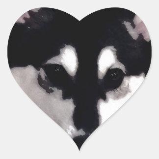 Black and white smiling Alaskan Malamute Heart Sticker