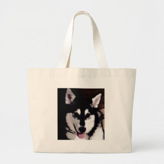 Black and white smiling Alaskan Malamute Large Tote Bag