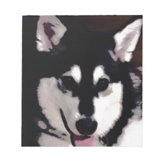 Black and white smiling Alaskan Malamute Notepads