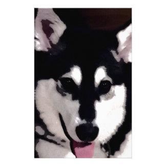 Black and white smiling Alaskan Malamute Stationery