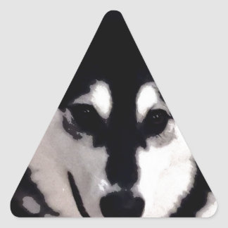 Black and white smiling Alaskan Malamute Triangle Sticker