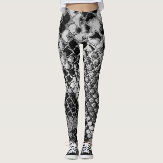 Black and White Snake Skin - Animal Print Leggings