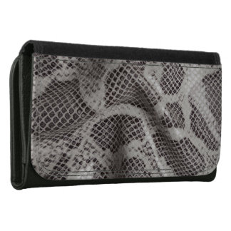 Black and White Snake Skin Leather Wallet