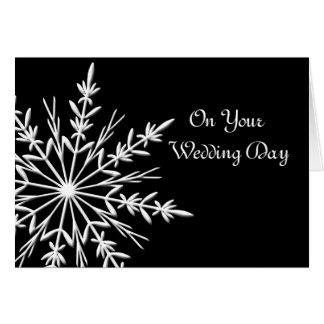 Black and White Snowflake Blended Family Wedding Card