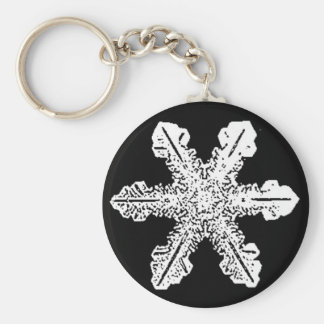 Black and White Snowflake Keychain