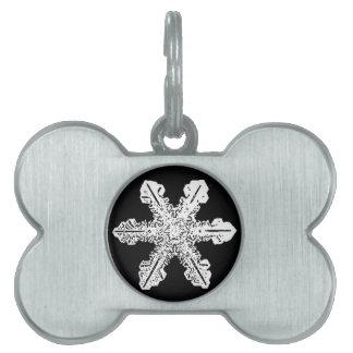 Black and White Snowflake Pet Tag