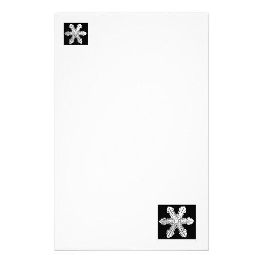 Black and White Snowflake Stationary Stationery Design