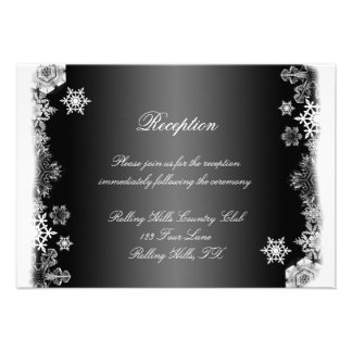 Black and White Snowflake Wedding Reception Personalized Announcement
