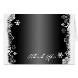 Black and White Snowflake Wedding Thank You card