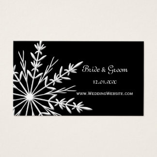 Black and White Snowflake Wedding Website Card