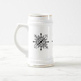 Black and white snowflake winter design beer stein