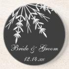 Black and White Snowflake Winter Wedding Coaster