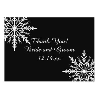 Black and White Snowflake Winter Wedding Favor Tag Large Business Card
