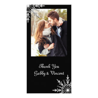 Black and White Snowflake Winter Wedding Thank You Photo Greeting Card