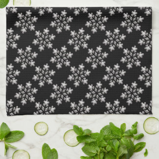 Black And White Snowflakes Christmas Holiday Xmas Kitchen Towel