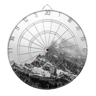 Black and White Snowy Mountain Dartboard