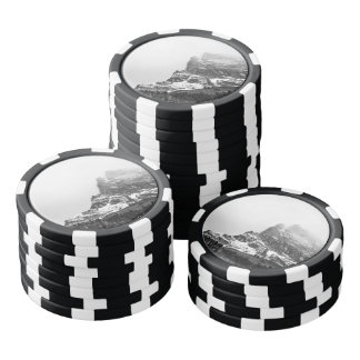Black and White Snowy Mountain Set Of Poker Chips