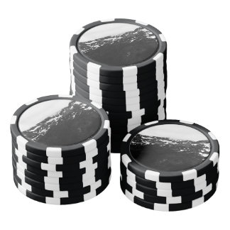 Black and White Snowy Mountains Poker Chips