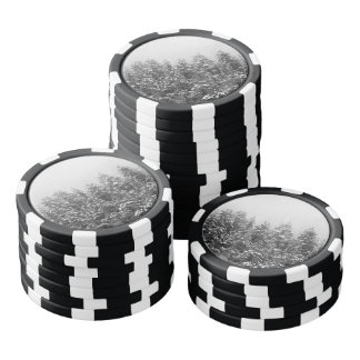 Black and White Snowy Pine trees Poker Chips