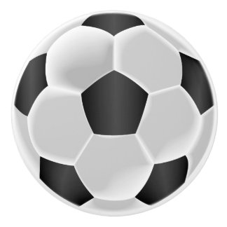 Black and White Soccer Ball / Football Ceramic Knob