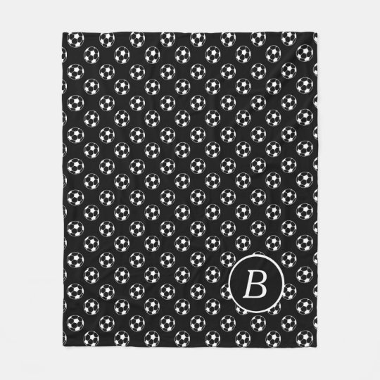 Black and White Soccer Balls Monogram Fleece Blanket