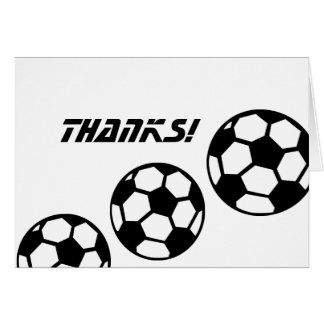 Black and White Soccer Balls Thank You Card