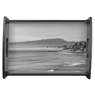Black and White South Carlsbad beach Serving Tray