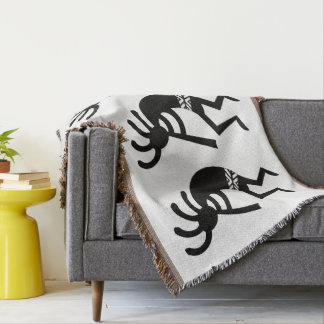 Black And White Southwest Kokopelli Throw Blanket
