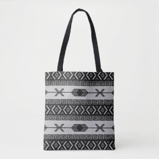 Black And White   Southwest Tribal Aztec Pattern Tote Bag