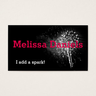 Black and White Sparks Fireworks Business Card