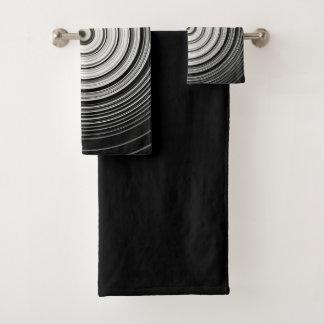 black and white spiral bath towel set