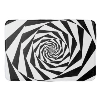 Black and White Spiral Bathroom Mat