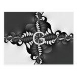 Black and White Spiral Fractal Monogram G Post Card