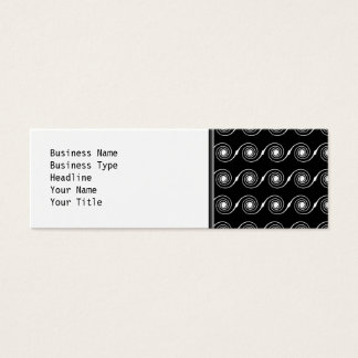 Black and White Spiral Swirl Pattern. Mini Business Card