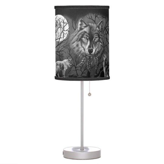 Black and White Spirit Wolf Lamp