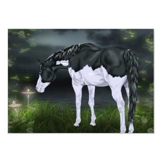 Black and White Splash Frame Paint Horse Print Card